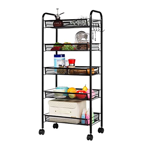 LANGRIA 5 Tier Basket Stand Kitchen Bathroom Trolley Full Metal Rolling  Storage Cart With