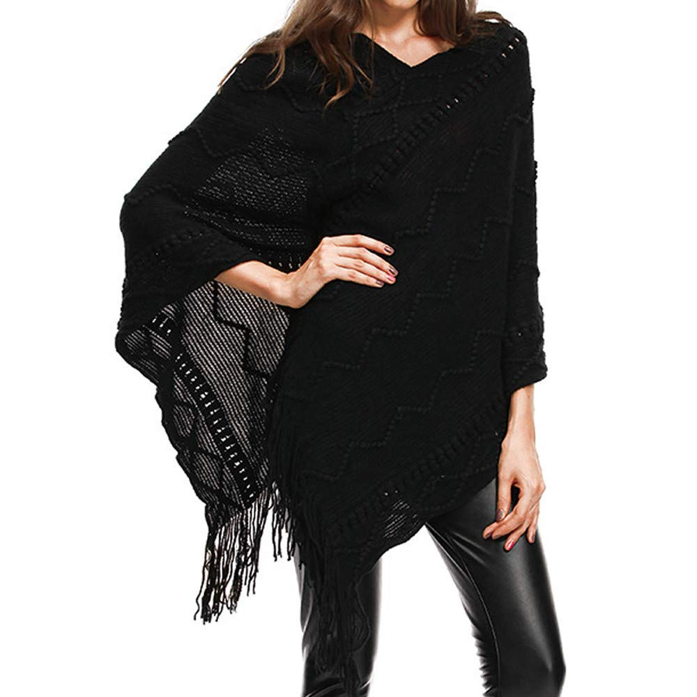 Womens Plus Size Tassels Cloak V-Neck Solid Sweater Easy Blouse Tops iTLOTL(Black ,US-14/CN-M)