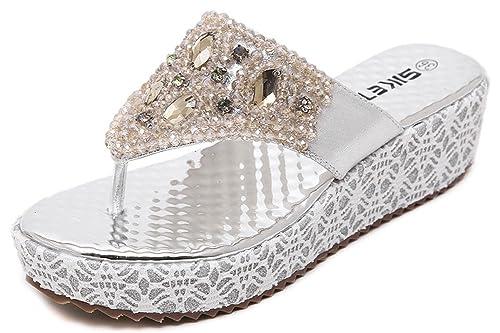 d6066b370d201f ... IDIFU Women s Beaded Rhinestone Wedge Platform Thong Sandals Antiskid  Beach Shoes Silver 4 B( ...