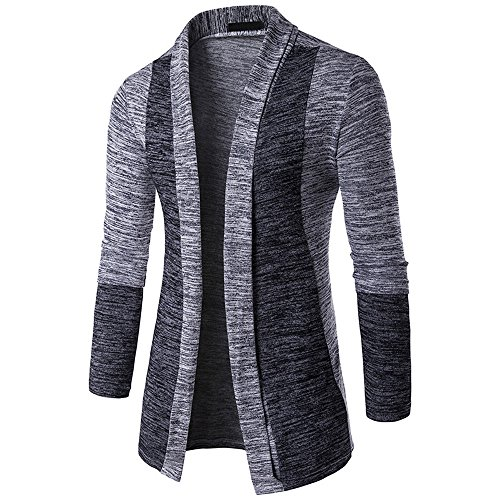 HARRYSTORE Knitwear Mens Trench Coat Gray Shirt Cardigan Sleeve Jumpers Outwear Long Open Cardigan Slim Knitted Long Front Knitted Fit qSrHYdqw