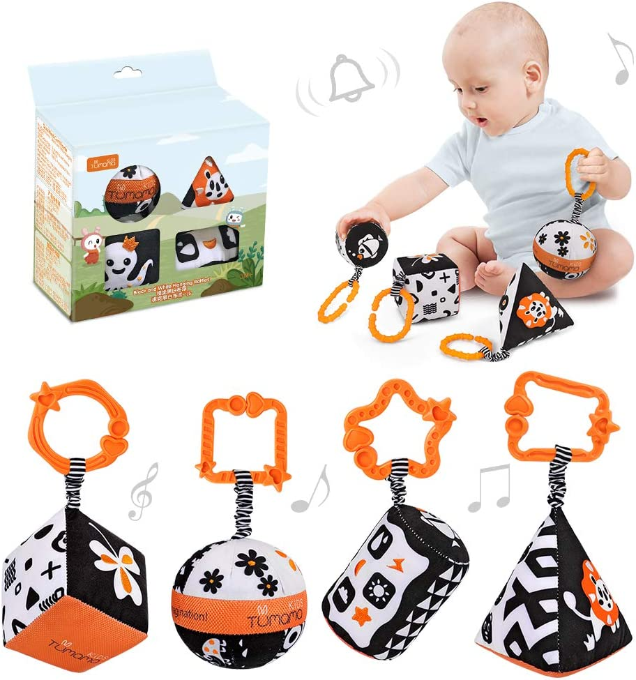 Newborn,Toddlers,Infants Black and White Stroller Toy for Car Seat Baby Plush Rattles Rings Hanging Toy for 0 3 6 9 to 12 Months 4 Packs TUMAMA High Contrast Shapes Sets Baby Toys