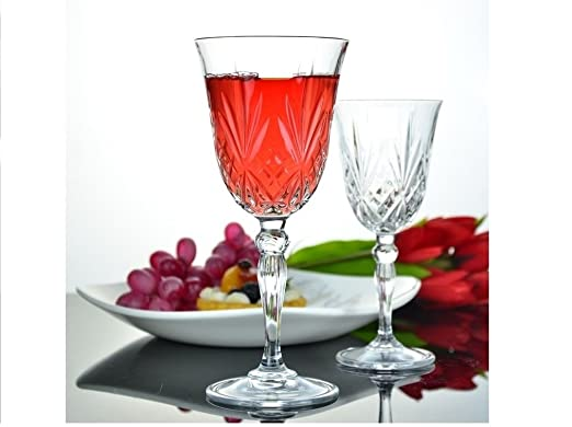Elegant Le'raze Italian Crystal Wine Goblets - Set of 6