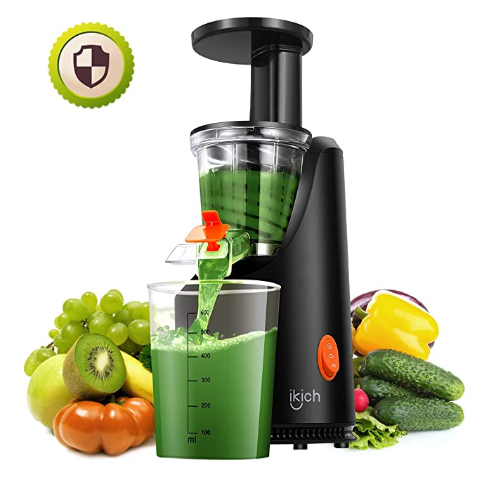 IKICH Slow Masticating Juicer, Juice Extractor with Maximum Nutritional Value, Easy to Clean, for All Fruits and Vegetable, Black