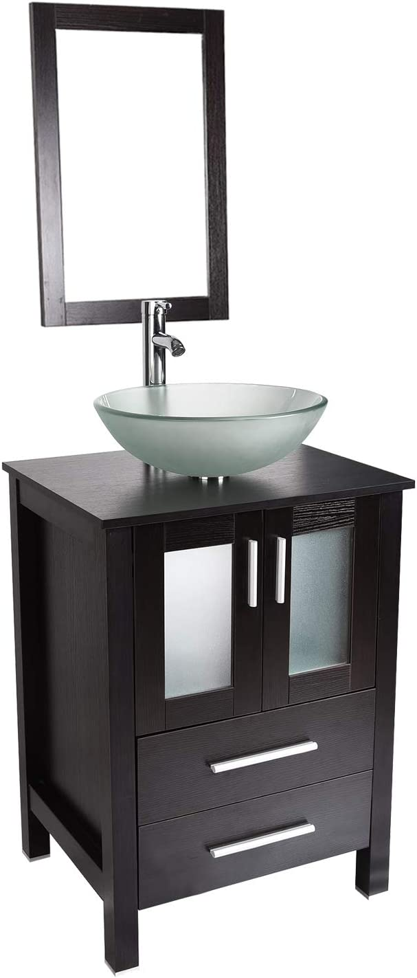 Bathroom Vanity and Sink Combo – 24 Inch Traditional Vanity Cabinet with Mirror and Tempered Glass Vessel Counter Top Sink Basin Eco MDF Board Faucet Pop-up Drain Set Vanity Frosted Sink
