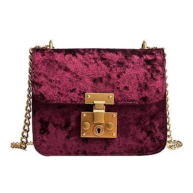 Amazon.com: Women shoulderbag Retro Velvet Bag Shoulder Bag Messenger Bags Tote Handbag Coin Bag leather crossbodybags bolsas feminina #75 Color Red: Shoes