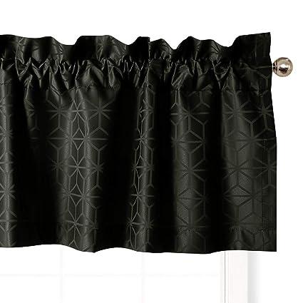 Valea Home Geometric Pattern Design Kitchen Valances for Window Rod Pocket  Valance Curtain for Bedroom and Baseroom, 54-inch x 18-inch, Black