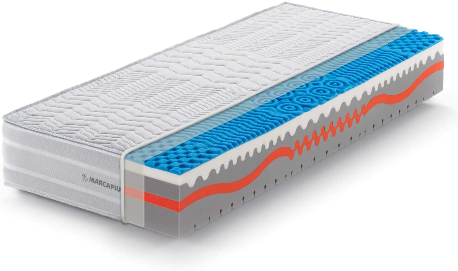 Marcapiuma - Colchón viscoelástico Individual Memory 90x180 Alto 25 cm - Sunshine - firmeza H2 Medio 9 Zonas - Producto Sanitario CE - Funda desenfundable Silver Antiácaros 100% Fabricado en Italia