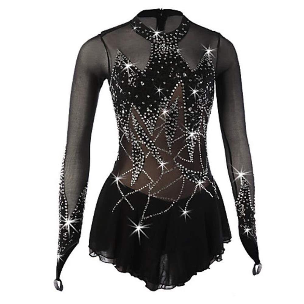 Figure Skating Dress Womens//Girls Ice Skating Dress Black Spandex High Elasticity Performance Skating Wear Breathable Handmade Floral//Botanical Long Sleeve Ice Skating//Figure Skating
