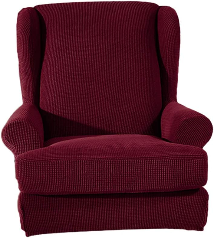 HomeDecTime Stretch Wing Back Arm Chair Cover 2-Piece Wingback Sofa Slipcover - Grey Burgundy