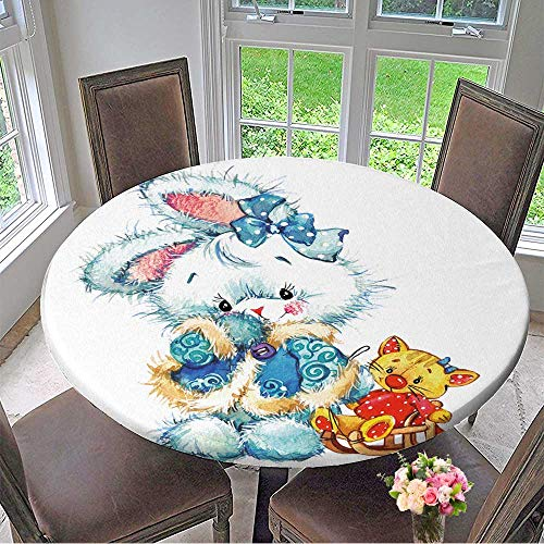 Mikihome Chateau Easy-Care Cloth Tablecloth New Year Santa Claus.Cute Bunny and Christmas Background for Card Decoration Watercolor Painting for Home, Party, Wedding 43.5
