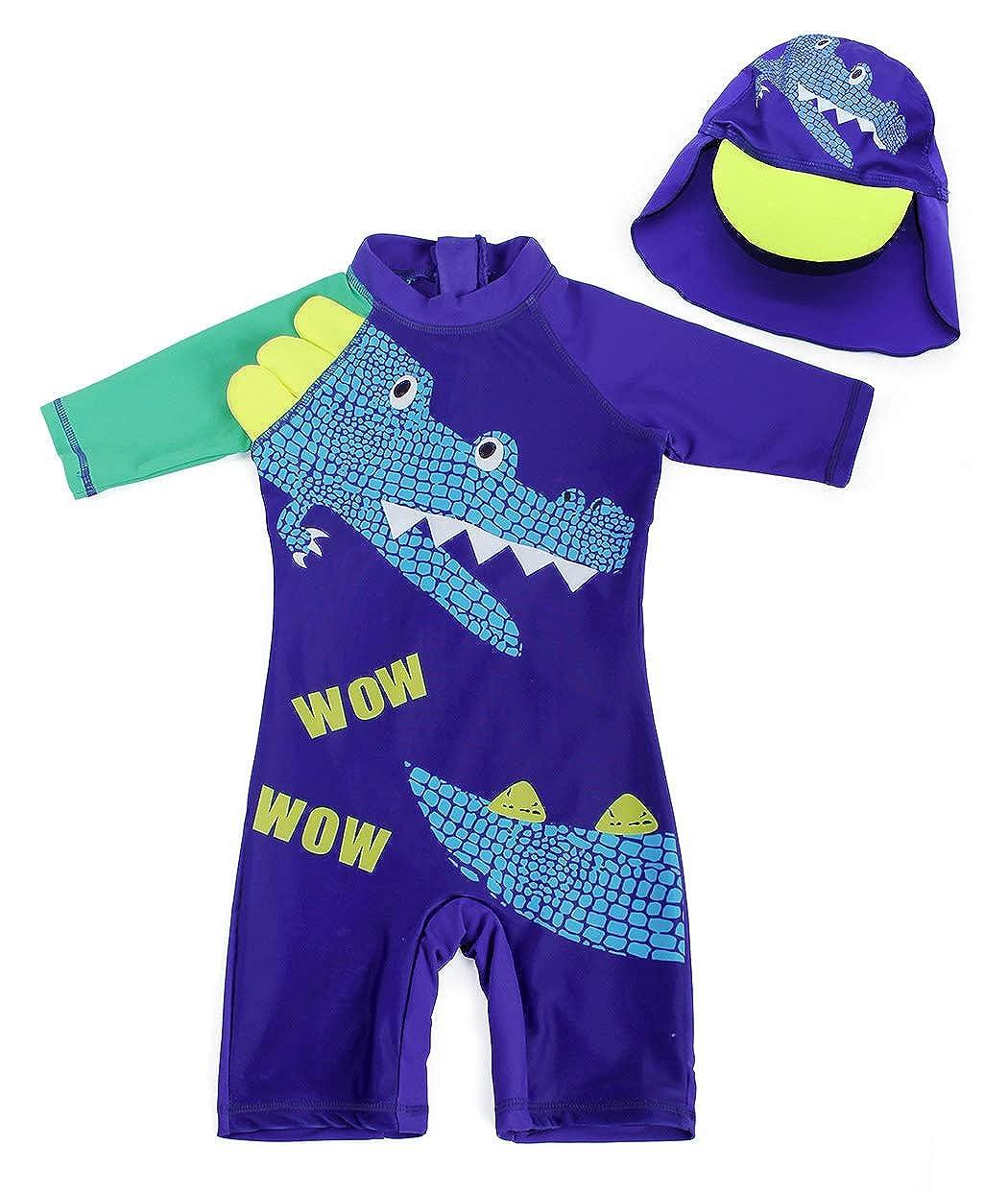 AmzBarley Boys Girl One Piece Swimsuit Swim Swimming Bathing Suit Swimwear Caps