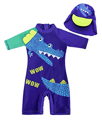 d3cae97e90 AmzBarley Boys Girls 1-Piece UV Protection Swimwear Kids Cartoon Animals Swimming  Costume Child Rush Guard Swimsuit Beach Holiday Swim Wear Wetsuit: ...