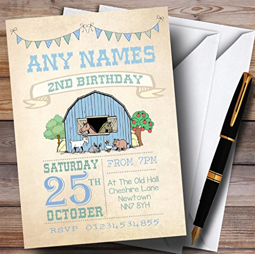 Boys Farm Animals Childrens Birthday Party Invitations by The Card Zoo
