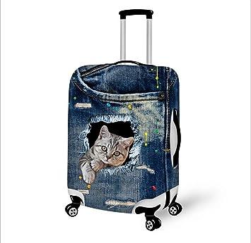 Cubierta de equipaje de viaje Mezclilla 3D Animal Dibujos animados Impresión Resistente al desgaste Bolsillo con cremallera oculto Funda ...
