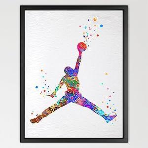 Dignovel Studios 8X10 Unframed Basketball Player Watercolor Illustration Art Print Wall Art Poster Home Decor Wall Hanging Kids Play Room Birthday Basketball Art N048
