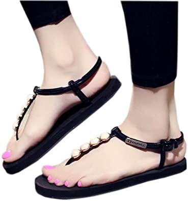 f4f7ee0e3 Image Unavailable. Image not available for. Color  Bettyhome Women Girls  Lady Fashion Pearl Rivet Thongs Comfortable Casual Flat Sandals Beach Flip  Flops ...