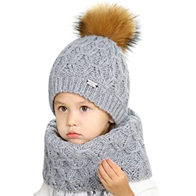 3d581fb1e2f FURTALK Boys Girls Hat Scarf Sets for Kids - Winter Warm Wool Knitted  Beanie Hat with