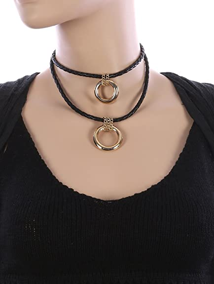 684ab7e55 Image Unavailable. Image not available for. Color  Destinee s black DOUBLE  RING CHARM FAUX LEATHER CHOKER NECKLACE