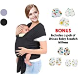 Baby Wrap Carrier Sling Black- | Free Mittens | Newborns 0-3 Years to Infants & Toddlers| 3 Carrying Positions | Soothing, Warm & Cosy for Babies | Breathable Cotton Spandex Fabric | Ideal Gift |
