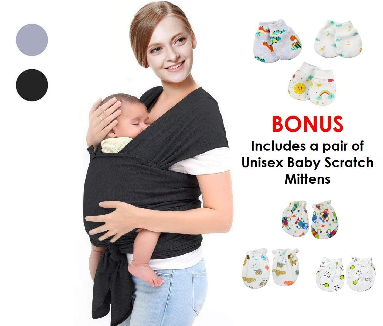 Premium Baby Wrap Carrier Sling- Newborns 0-3 years includes infants & toddlers| 3 Carrying Positions | Soothing, Warm & Cosy For Babies | Breathable Cotton & Spandex Fabric | Ideal Gift | Free Scratch Mitten SyeNaz