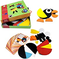 BrilliantMagic Wooden Pattern Blocks Animals Jigsaw Puzzle Sorting and Stacking Games Montessori Educational Toys for…