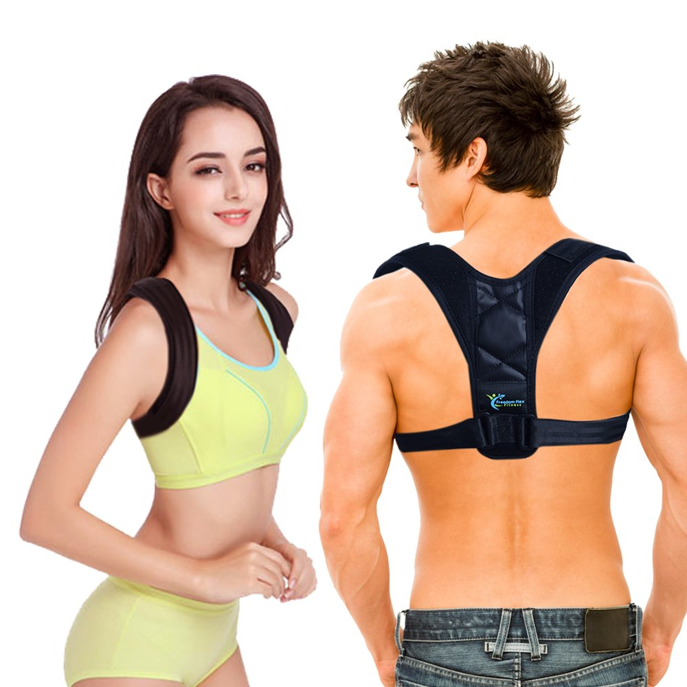 Back Posture Corrector for Both Women & Men - A Medic Brace to Support & Prevent Primate Slouch - Long Lasting Comfort for Perfect Upright Go Posture - Best Neck Hump Corrector - Freedom Flex Fitness