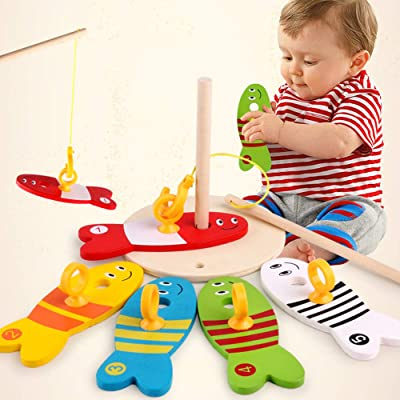 USHOT Baby Kids Fishing Nest Game Digital Fishing Wooden Fishing Sets Educational Toy: Beauty
