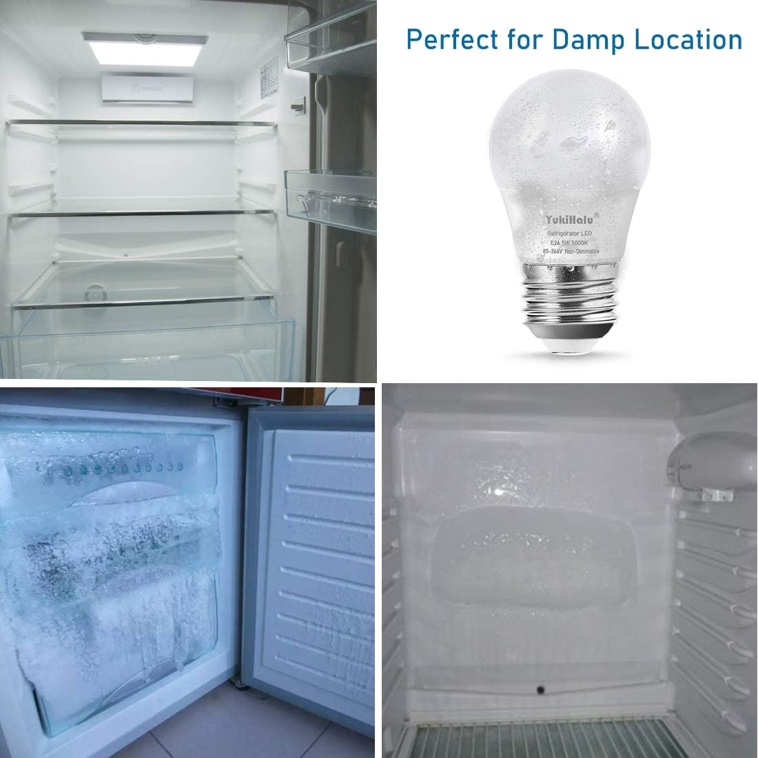 450 Lumen 5W Daylight 5000K E26 Medium Base LED Refrigerator Light Bulb 40W Equivalent A15 Appliance Fridge Bulbs Small Size Bulb Not Dimmable 2-Pack for Damp Location Waterproof