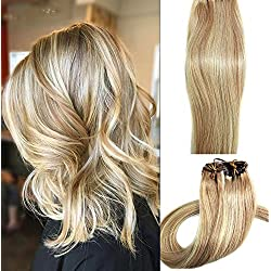 Myfashionhair Clip in Hair Extensions Real Human Hair Extensions 22 inches 70g Clip on for Fine Hair 7 pieces Silky Straight Weft Remy Hair (22 inches, #27-613)