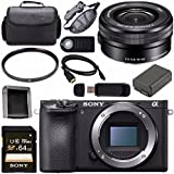 Sony ILCE6500/B Alpha a6500 Mirrorless Digital Camera (Body Only) + Sony 16-50mm f/3.5-5.6 Alpha E-mount Zoom Lens + NP-FW50 Lithium Ion Battery + Sony 64GB SDXC Card + Carrying Case + Remote Bundle