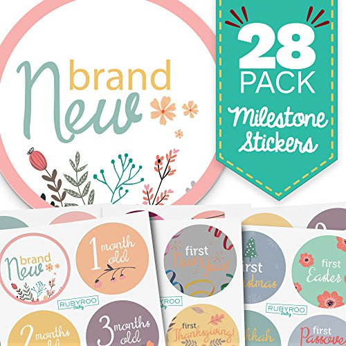 Baby Month & Milestone Stickers - 28 Pack - Baby Girl Onesie Belly Stickers. Includes 12 Monthly, 1st Year milestones & First Holidays. Perfect Baby Shower & Newborn Birthday Gift. (Floral)