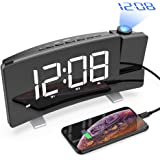 CSHID-US Projection Alarm Clock, 7'' Dimmable LED Curved Screen Digital Clock, FM Radio Alarm Clock, Adjustable Ceiling Sleep Timer for Kids Bedroom, Dual Alarms, 12/24 Hour, Snooze Function