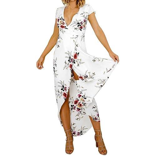 Vovotrade Mujer Boho Largo Maxi Vestido Damas Cuello en V Floral Casual playa Fiesta Vestir Blanco V...