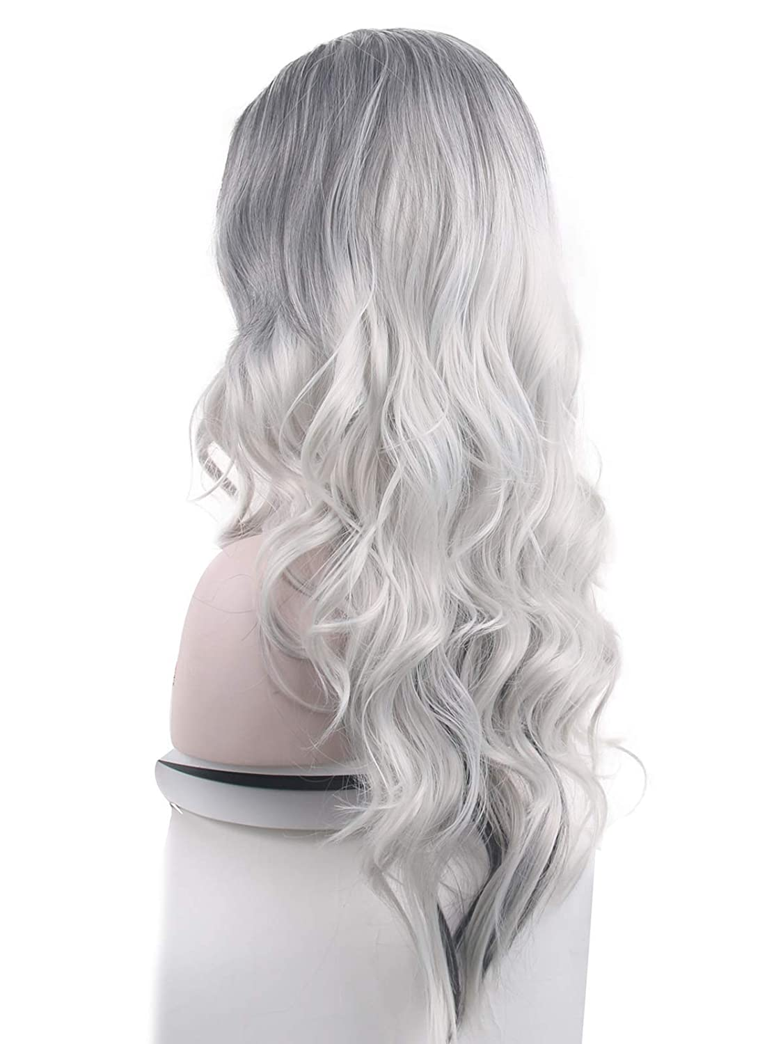 Grey Wig Long Length Fringed Wig Fancy Dress Cosplay Deluxe Washable Silver