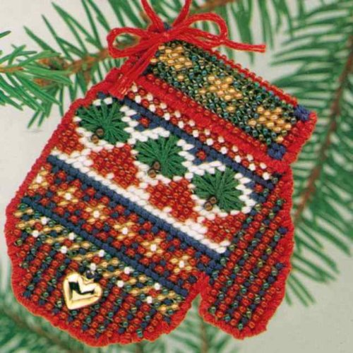 (Sampler Mitten Beaded Counted Cross Stitch Kit Mill Hill Mitten Ornaments MHCM10)