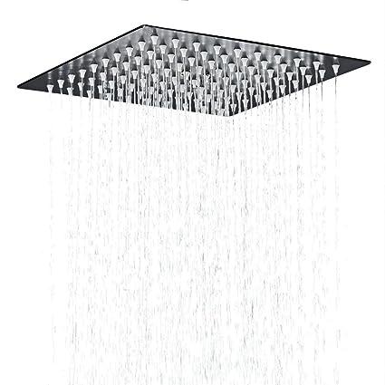 Hiendure Stainless Steel Bathroom Square Rainfall Shower Head 12