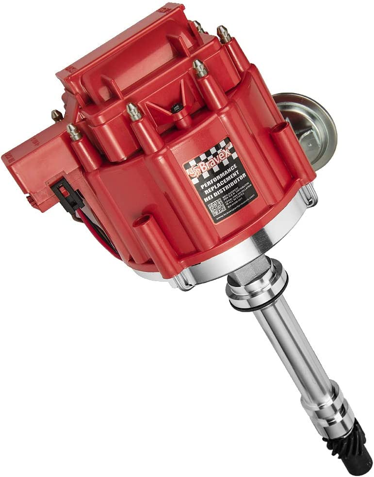 Bravex Chevy Hei Distributor Red Cap for Chevy GM SBC 283 305 307 327 350 400 BBC 454 396 427 Small Big Block 7500RPM