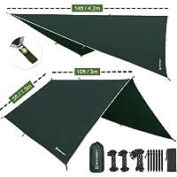 Bessport Tentzeil zonnezeil camping tarp voor hangmat PU 3000 mm waterdicht met oogjes + 6 haringen + 8 touwen, lichte…