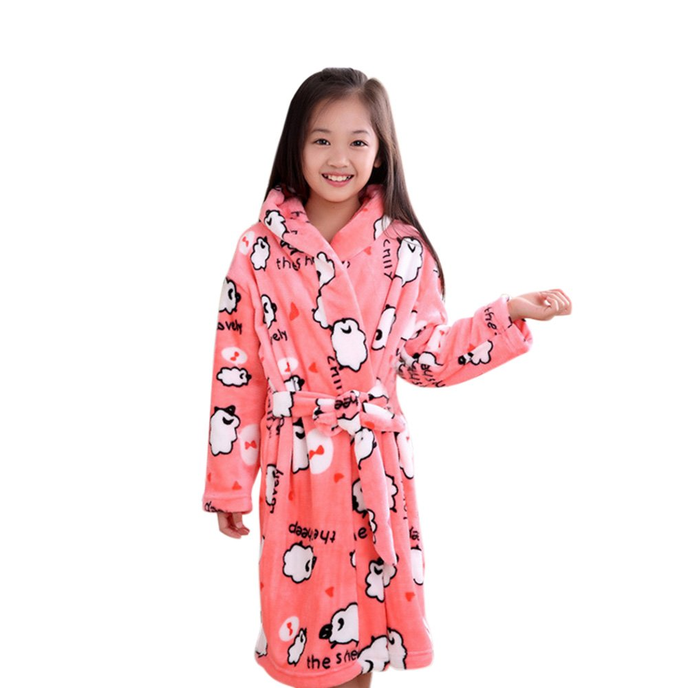 AME Bathrobes for Kids Boys and Girls Soft Velvet Cute Spa Party Kimono Robe