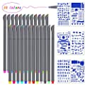 Fineliner Pens Fine Point Marker, Omont 24 Colored Pens Writing Drawing Pens for Bullet Journal Planner Coloring Art Projects + 6 Free Plastic DIY Drawing Stencil Template
