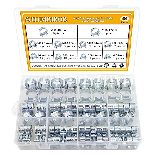 (Sutemribor 10 Sizes Mini Fuel Injection Line Style Hose Clamps Assortment Kit (84 PCS) )