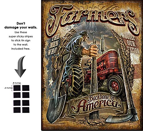 Shop72 - AGCO Corporation Farmers - Backbone Tin Sign Retro Vintage Distrssed - With Sticky Stripes No Damage to Walls (Lake Arrowhead Tin Sign)