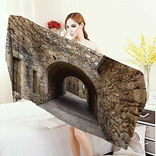 Anhounine Customized bath Towels Apartment Decor Collection Medieval Ancient Historic Street With Stone Walls in Pals Girona Catalonia Spain Picture Print fancy towels 63''x31.5'' Beige by Anhounine