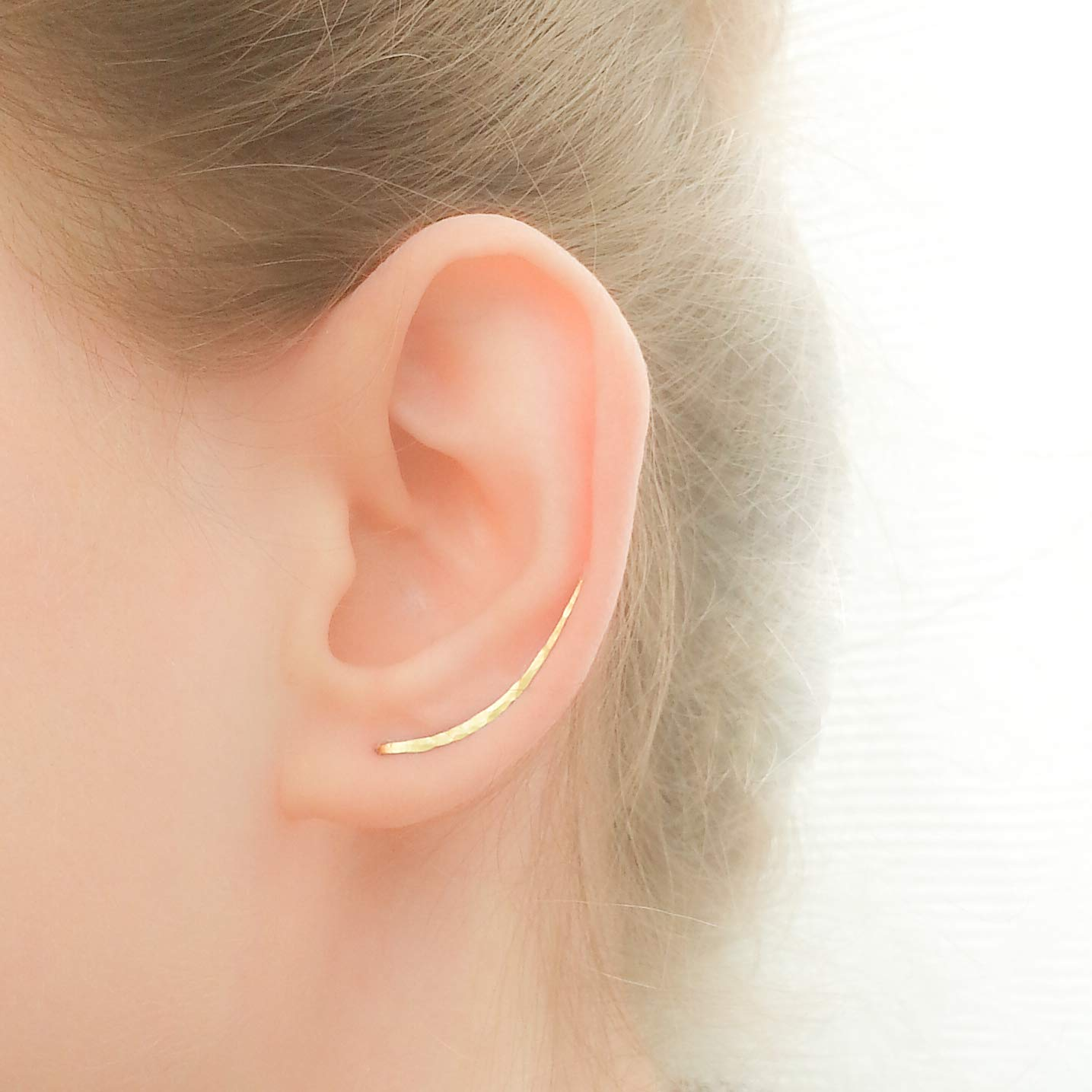 Gold Earrings Long Ear Climbers Crawlers Sweeps Curved Bar Studs