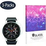 Tempered Glass Screen Protector BECROWM 9H Hardness Protective Glass Compatible with Samsung Galaxy Watch 42mm/46mm Ver,2.5D Full Coverage High Definition Premium Clear 3 Packs Smartwatch Accessories (46mm Ver)