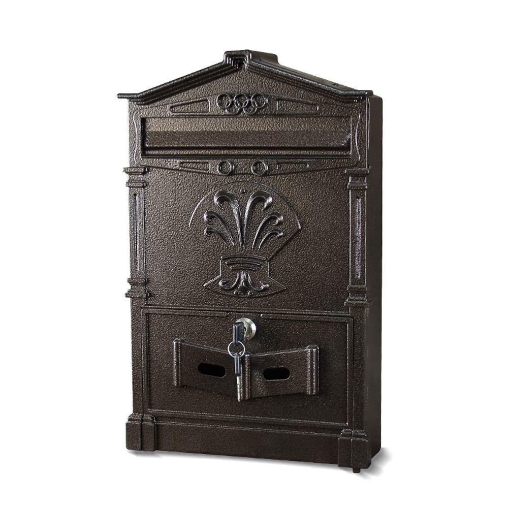 ヨーロッパのレトロメールボックスレターボックスの壁の屋外防水新聞の大規模なマガジンボックスのメールボックス (色 : 黒, サイズ さいず : 41*25*7.5cm) 41*25*7.5cm 黒 B07KHWBN8G