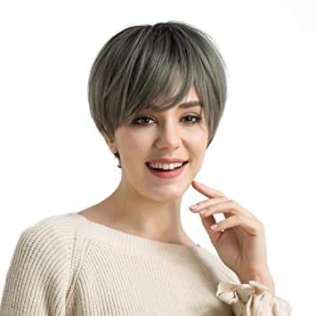 Huphoon Full Wigs Women Mixed Blonde Color Short Layer Nature Curly with BangsHeat Resistant Wavy Synthetic