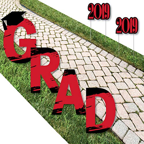 Big Dot of Happiness Red Grad - Best is Yet to Come - Yard Sign Outdoor Lawn Decorations - Red 2019 Graduation Party Yard Signs - Grad