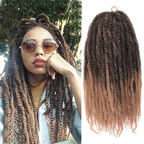 K&G HAIR Afro Marley Twist Hair 18Inch Marley Hair for Twists 3Packs Synthetic Kinkys Twist Braiding Hair Extensions(1B-27#)