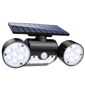 Solar Lights Outdoor, 30 LED Solar Security Lights with Motion Sensor Dual Head Spotlights IP65 Waterproof 360° Adjustable Solar Motion Lights Outdoor for Front Door Yard Garden Garage Patio Deck